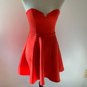 Divided H&M Red Strapless Cocktail Dress